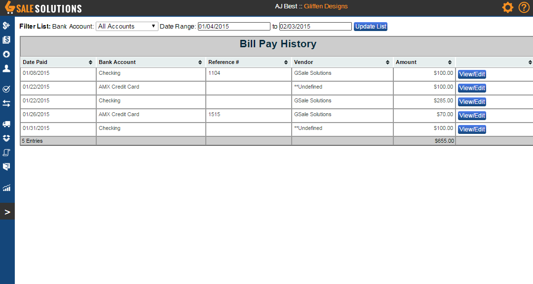 The Bill Payment History area shows sets of expenses paid to various vendors.