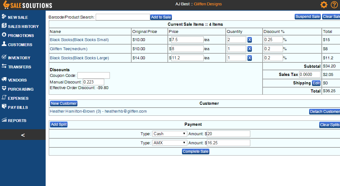 The main Point of Sale screen with products loaded, customer attached and split transaction