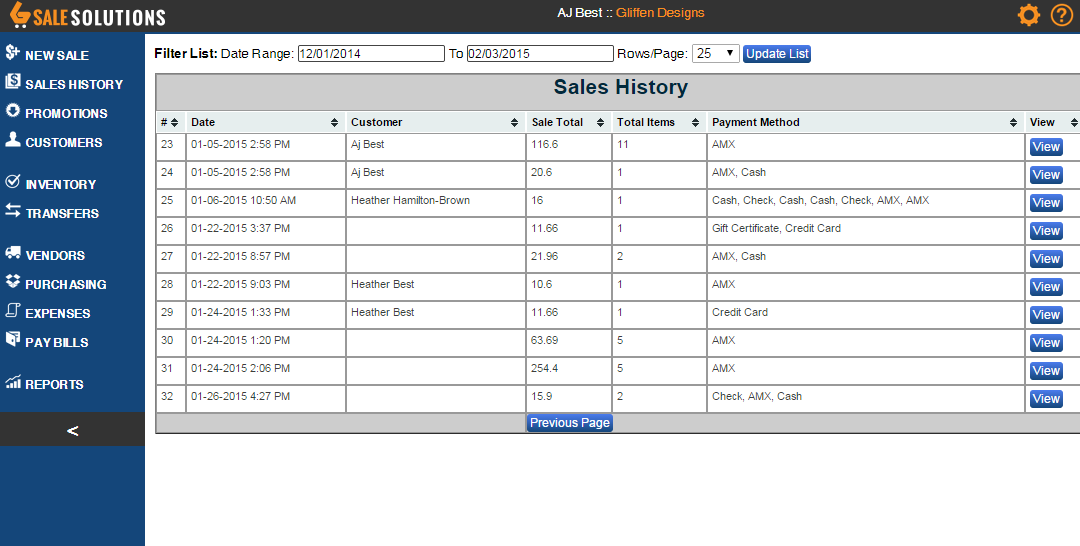 This is the sales history area where old sales can be looked up and edited if needed.